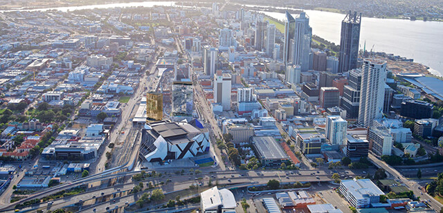 Aerial view of Perth city center