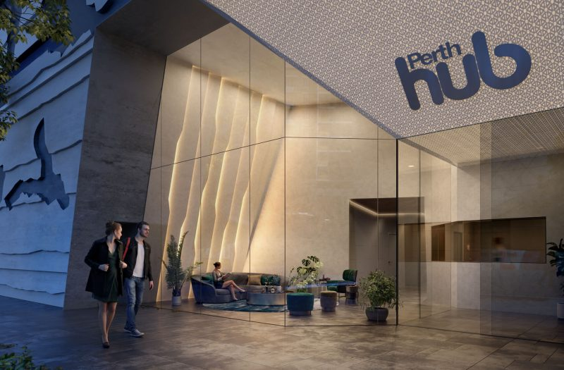 Artistic rendering of the Perth Hub reception area in the evening