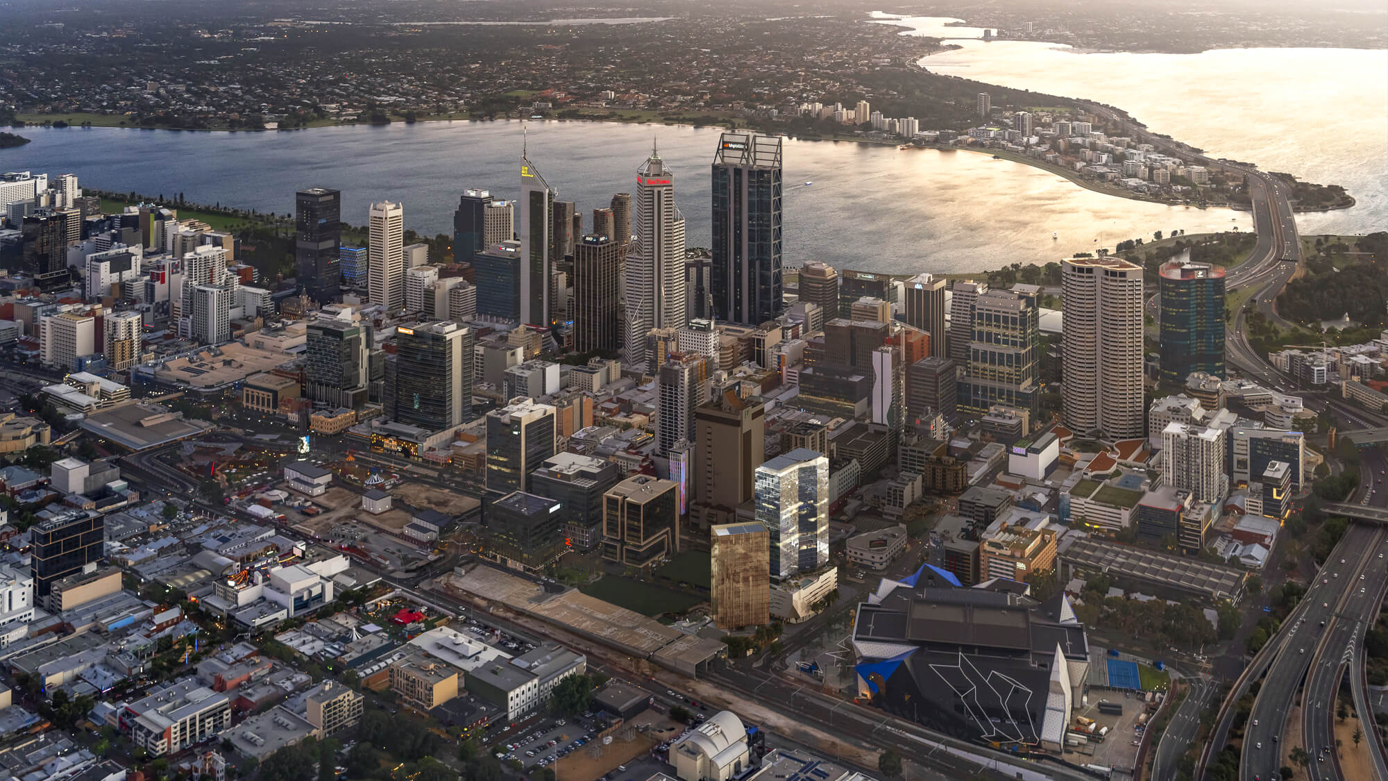 Aerial view of Perth city center and bay area