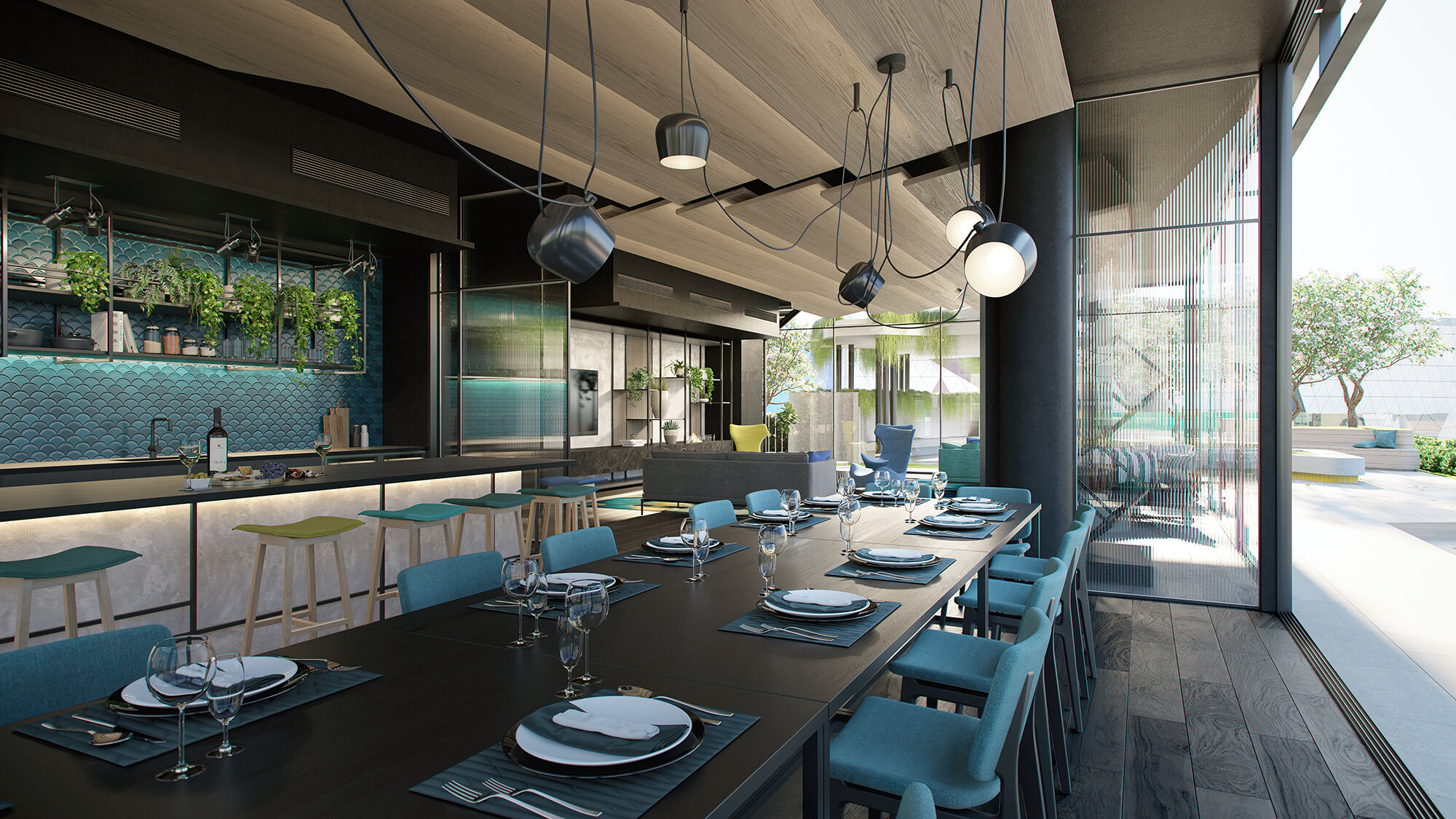 View of Perth Hub dining area with long dining table setting