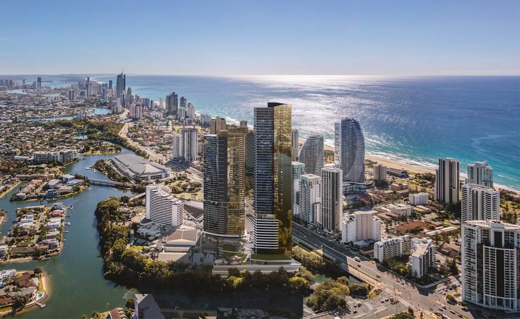 Aerial view of The Star Residences on the Gold Coast
