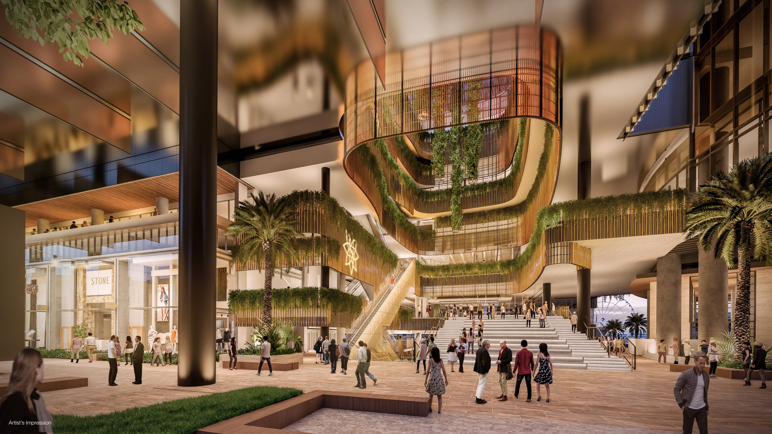 Artist Impression of the entrance to Queen's Wharf from George Street. Open air atrium, shops and pedestrians.