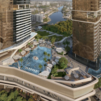 Deck between two towers at The Star showing pool and other recreational facilities